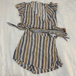 Super cute wrap-around striped set.